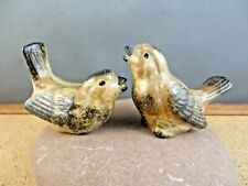 2 Vintage Bird Porcelain Figurine Cute Little Brown House Finch Wild Song Birds
