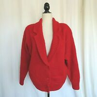 Vintage 1980's I B Diffusion Women's Red Mohair Cardigan Size 6 / M