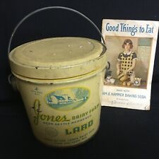 Lot of 2 Antique Jones Dairy Farm Lard Tin With Arm & Hammer Cookbook ca. 1924