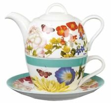 Royal Horticultural BUTTERFLIES and BLOOMS TEA FOR ONE Saucer + Teapot + Cup