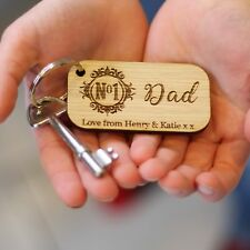 'No 1 Dad' Personalised Wood Keyring, Father's Day Gifts, Grandad, Birthday Gift