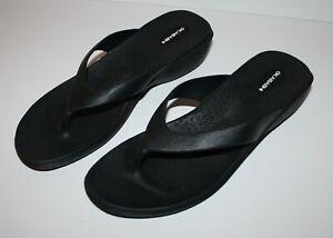 Okabashi Womens Arch Support Black Flip Flops Size Large 9/10