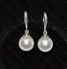 Lovely 18k/18ct White Gold Filled 10mm Pearl & White Sapphire Drop Earrings