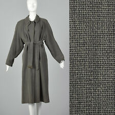 XL Giorgio Armani Trench Coat Gray Loose Fit Pockets Lined Vent VTG Overcoat