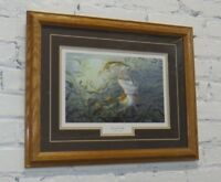 """Second Strike"" by Terry Doughty Bass Fishing Oak Frame Matted Print 21x17"""