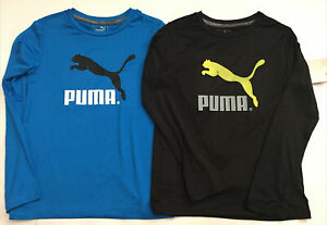 NWT PUMA Kids Blue Long Sleeve Dry Cell  Active T- Shirt Youth Boy sz 7 Lot of 2