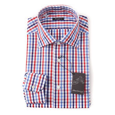 NWT $395 SARTORIO NAPOLI Red and Blue Multi Check Cotton Dress Shirt 15 x 35