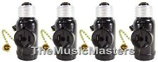 4X Lamp Socket Converter with 2 AC Outlets Bulb Holder & Pull Chain Switch BROWN