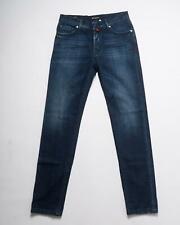 Kiton Napoli NWT Blue Distressed Slim Stretch Selvedge Denim Jeans 33