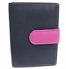 Navy & Pink Leather Two Colour Credit Card Holder Popper Fastening - zen NP