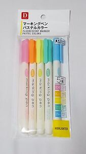 Daiso Japan Marker Pen 5 pcs Pastel Colors Kawaii