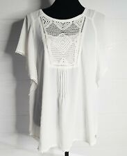 Meadow Rue Anthropologie Ivory Large L Ruffle Eula Poncho Sleeve Top Blouse