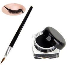 Pro Waterproof Eye Liner Liquid Eyeliner Shadow Gel Makeup Cosmetic+Brush Black