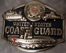 Military Belt Buckle pewter U S Coast Guard montage oversized colored USCG NEW