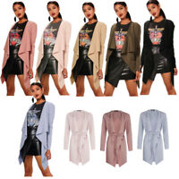 WOMENS LADIES THIGH MIDI LENGTH BELTED LONG SLEEVED DUSTER COAT JACKET