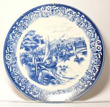 Piatto da collezione Piastra da muro blu Fiume Barche Ponte