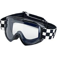 Biltwell Moto Goggle, Motorradbrille, Checkered, für Jethelme / Antibeschlag!