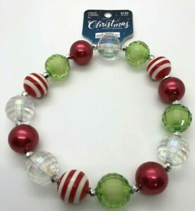 "Childs Chunky Bubblegum Necklace Christmas Colors 14"" Photo Prop"