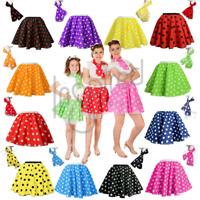 POLKA DOT ROCK n ROLL 50s SKIRT & SCARF FANCY DRESS COSTUME Hen Party ADULTS UK