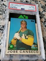 JOSE CANSECO 1986 Topps Tiffany Rookie Card RC PSA 8 MVP 40-40 Man Oakland A's