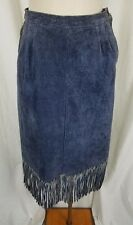 Blue Suede Leather Fringe Hippie Boho Long Maxi Skirt Womens 10 Festival Western
