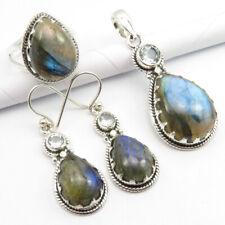 Topaz Pendant Earrings Ring #7.25 Set 925 Pure Silver Genuine Labradorite & Blue