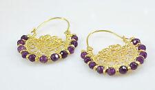Ottomangems semi preciosas pendientes de piedras preciosas Aro De Oro Jade filigrana hecho a mano