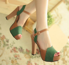 Sexy Womens Peep Toe Ankle Strap Roman Retro Chunky Block High Heel Shoes Uk Sz