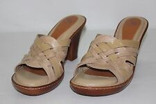 Nurture Womens 8.5 M Tan Leather Open Toe Strappy Sandals High Heels Shoes NEW