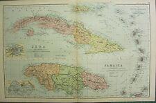 1894 ANTIQUE MAP ~ CUBA HAVANA JAMAICA KINGSTON LESSER ANTILLES