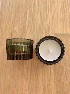 PRETTY H&M 2 GREEN GLASS TEA LIGHT HOLDERS NEW