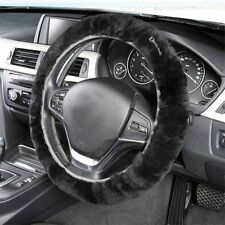 Zento Deals Comfy Faux Sheepskin Auto Car Soft Plush Black Steering Wheel Cover