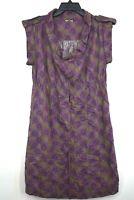 Fossil Womens Short Sleeve Circle Neck Floral Print Dress Ealstic Waist Size M