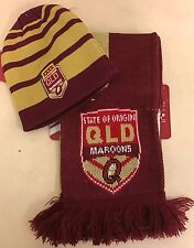 QUEENSLAND MAROONS QLD STATE OF ORIGIN SET OF 2 TWO SCARF BEANIE HAT