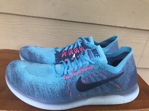 Nike Free RN Flyknit 880844-400 Women's Blue Pink Athletic Running Shoes Size 10