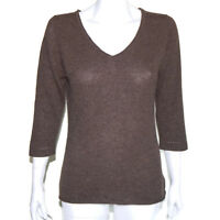 CLAUDIA NICHOLE 100% CASHMERE Rustic Brown 3/4 Sleeve V-Neck Sweater Small 8700