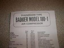 BADGER MODEL 180-1 AIR COMPRESSOR REPAIR SHEET FREE SHIPPING
