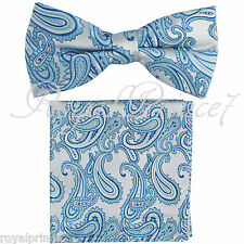 Turquoise Paisley Pre-tied Bow tie and Pocket Square Hanky Set Party Wedding