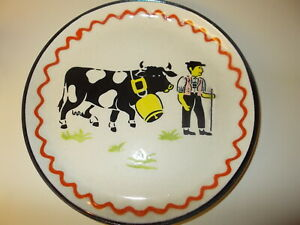 Vintage Very Old Country Scene Farmer & Cow Plate FOREIGN Decorative