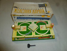 VINTAGE BOXED TIN TRAIN SET AOPOTA RUSSIAN WIND UP TOY W KEY RUSSIA USSR RARE >>