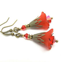 GODDESS Trumpet LILY RED Lucite flower earrings Bronze Czech HOLIDAY 4th of July