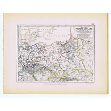 PRUSSIA and POLAND Battle Campaigns of 1806 - Antique Map 1875