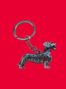 Metallic Wire Haired Dachshund Sausage Dog Key Ring Brand New in Bag