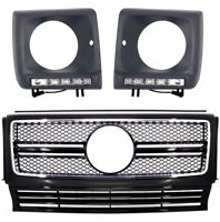 Mercedes G-Class W463 Grill Grille G63 AMG Look Black +Headlights Covers LED DRL