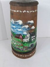 Vintage Wooden Butter Churn Lid Wood Painted Country Landscape #675 Signed