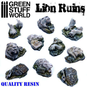 Lion Ruins - Resin Miniature Bases Temple Sauvage Animal Diorama Warhammer 40k