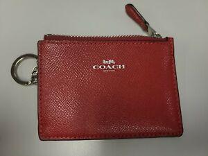 NWOT Coach Crossgrain Leather Red Mini ID Skinny Case Card