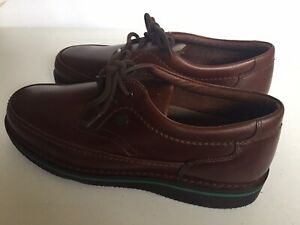 HUSH PUPPIES 18915 The Body Shoe Walking Antique Brown Leather Oxfords sz 8.5 EW