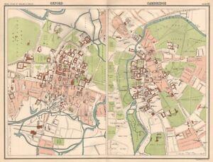 OXFORD & CAMBRIDGE antique town city plans. BARTHOLOMEW 1898 old map