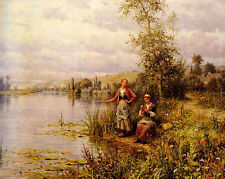 Oil painting country women fishing on a summer afternoon free shipping on canvas